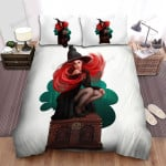 Halloween, Witch, Sexy Red Hairs Witch Art Bed Sheets Spread Duvet Cover Bedding Sets
