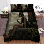 Halloween, Witch, Beautiful Witch With Short Hairs Bed Sheets Spread Duvet Cover Bedding Sets