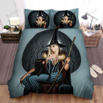 Halloween, Witch, Sitting On Her Tights Bed Sheets Spread Duvet Cover Bedding Sets