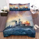 Frigate, Chaos War At Sea Bed Sheets Spread Duvet Cover Bedding Sets