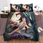 Halloween, Witch, Beautiful Witch With Dragon Bed Sheets Spread Duvet Cover Bedding Sets