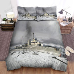 Frigate, Breaking Ice Ship Bed Sheets Spread Duvet Cover Bedding Sets
