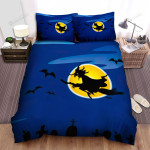 Halloween, Witch, Above The Cemeteries Art Bed Sheets Spread Duvet Cover Bedding Sets