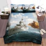 Frigate, White Ship Battle Art Bed Sheets Spread Duvet Cover Bedding Sets