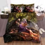 Halloween, Witch, Poor Frog And Witch Bed Sheets Spread Duvet Cover Bedding Sets