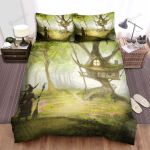 Halloween, Witch, Toward Her House Bed Sheets Spread Duvet Cover Bedding Sets