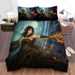 Halloween, Witch, Dark Magician Of Her Bed Sheets Spread Duvet Cover Bedding Sets