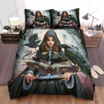 Halloween, Witch, Big Crow With Owner Bed Sheets Spread Duvet Cover Bedding Sets
