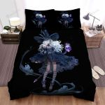 Halloween, Witch, White Hairs Witch And Skull Bed Sheets Spread Duvet Cover Bedding Sets