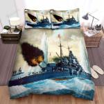 Frigate, Firing At The Battle Bed Sheets Spread Duvet Cover Bedding Sets