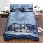 Frigate, Japanese Flag In Hand Bed Sheets Spread Duvet Cover Bedding Sets