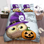 Halloween Owl Happy Halloween For Witch, Bed Sheets Spread Duvet Cover Bedding Sets