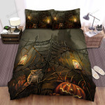 Halloween The Owl At The Black Gate, Bed Sheets Spread Duvet Cover Bedding Sets