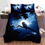 Halloween Scary Owl In Moon Night, Bed Sheets Spread Duvet Cover Bedding Sets