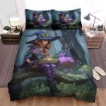 Halloween, Witch, Reading With Her Cats Bed Sheets Spread Duvet Cover Bedding Sets