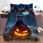 Halloween Black Cat & Jack O Lantern Digital Art Painting Bed Sheets Spread Duvet Cover Bedding Sets