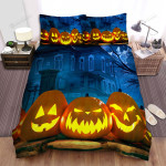 Halloween Jack-O-Lantern Outside The Haunted House Bed Sheets Spread Duvet Cover Bedding Sets