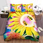 Sunflower Flowers Bird Bees Art Bed Sheets Spread Comforter Duvet Cover Bedding Sets