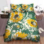 Sunflower Yellow Flower Green Leaves Illustration Bed Sheets Spread Comforter Duvet Cover Bedding Sets