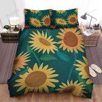 Sunflower Yellow Flowers Art Green Background Bed Sheets Spread Comforter Duvet Cover Bedding Sets