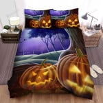 Halloween Owl, Looking At Pair Of Pumpkins Faces Bed Sheets Spread Duvet Cover Bedding Sets