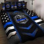 Blue Police Badge Bed Sheets Bedspread Duvet Cover Bedding Set