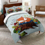 Blue Animals Fox Bed Sheets Bedspread Duvet Cover Bedding Set