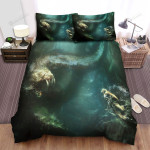 Sea Monster, Meeting The Diver Bed Sheets Spread Duvet Cover Bedding Sets