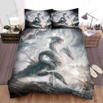 Sea Monster, Hydra In The Storm Bed Sheets Spread Duvet Cover Bedding Sets