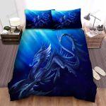 Sea Monster, Artwork Of Blue Dragon Bed Sheets Spread Duvet Cover Bedding Sets