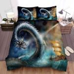 Sea Monster, Meeting Sea Legend Art Bed Sheets Spread Duvet Cover Bedding Sets
