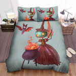 Halloween Pumpkin Witch Cooking Bed Sheets Spread Duvet Cover Bedding Sets