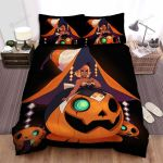 Halloween Black Witch In The Pumpkin Dress Bed Sheets Spread Duvet Cover Bedding Sets