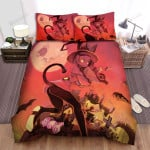 Halloween Witch The Cat In The Cemetery Bed Sheets Spread Duvet Cover Bedding Sets
