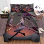 Halloween Witch Flying On Her Scythe Broom Cat Bed Sheets Spread Duvet Cover Bedding Sets