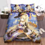 Halloween Blonde Twin Tails Witch And Tea Cup Bed Sheets Spread Duvet Cover Bedding Sets