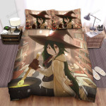 Halloween Illustration Of Long Hairs Witch In Room Bed Sheets Spread Duvet Cover Bedding Sets