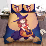 Halloween Kneeling Witch So Happy Bed Sheets Spread Duvet Cover Bedding Sets
