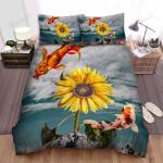Sunflower Koi Fish Collage Art Bed Sheets Spread Comforter Duvet Cover Bedding Sets