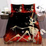 Halloween Skeleton Smoking Digital Art Bed Sheets Spread Duvet Cover Bedding Sets