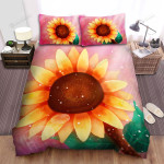 Sunflower Art Design Illustration Pink Background Bed Sheets Spread Comforter Duvet Cover Bedding Sets