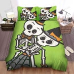 Halloween Skeleton Couple Dancing Bed Sheets Spread Duvet Cover Bedding Sets