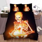 Halloween Burning Skeleton Illustration Bed Sheets Spread Duvet Cover Bedding Sets
