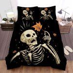 Halloween Skeleton And Brown Leaf Bed Sheets Spread Duvet Cover Bedding Sets