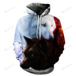 White And Black Wolf 3d All Over Print Hoodie, Zip-Up Hoodie