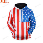 Stripped Star Flag 3d All Over Print Hoodie, Zip-Up Hoodie