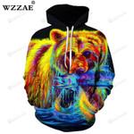 Colorful Bear 3d All Over Print Hoodie, Zip-Up Hoodie