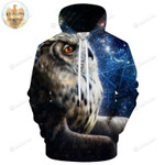 Owl 3d All Over Print Hoodie, Zip-Up Hoodie