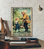 Grandpa and Grandson Fishing partner for life family poster poster canvas