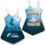 Never Underestimate Oldman with fishing rod Fisherman Fishing In Lighthouse Sea Fishing Gift for fisherman grandpa 3D T-shirt